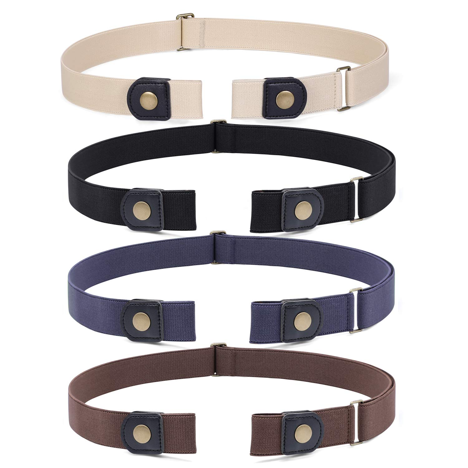 no buckle invisible stretch belt buckle-free elastic belt for women 4 pack