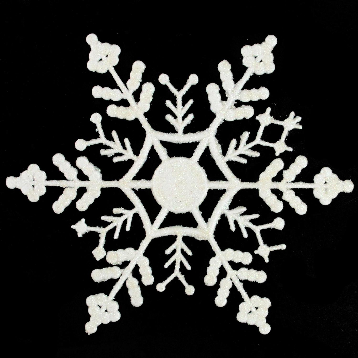 Winter White 3.75-inch Glitter Snowflake Christmas Ornaments Set of 24