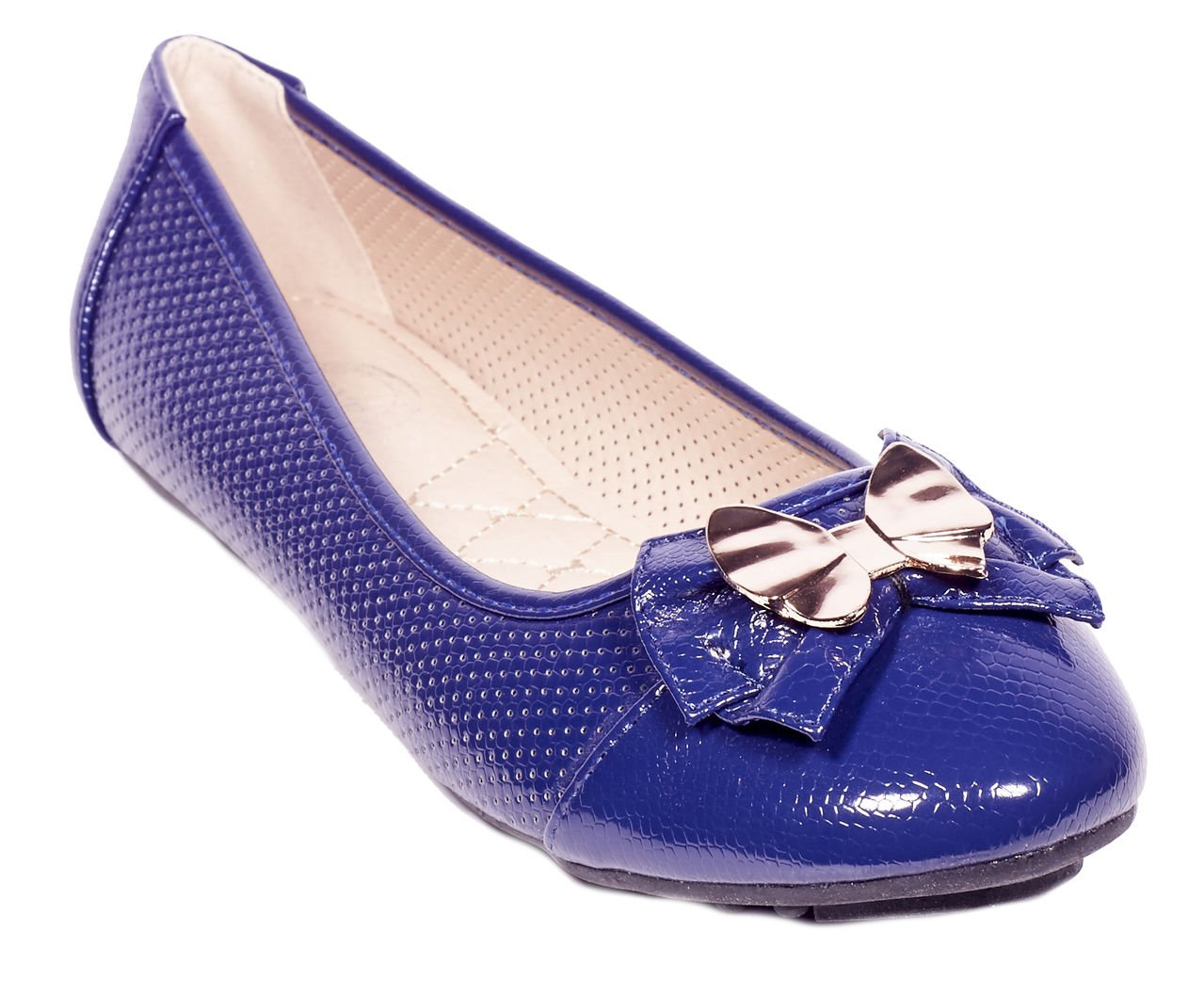 ONE Women Ballerina Flats Shoes, Bow & Buckles Accents, B-2045, Navy, 8