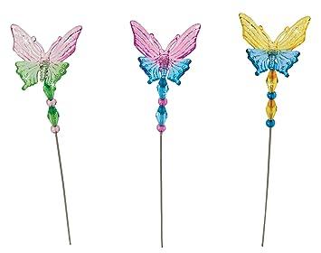 Mini Garden Butterfly Stakes   Yard, Planter, Garden Ornament Decoration, 3  Piece Set