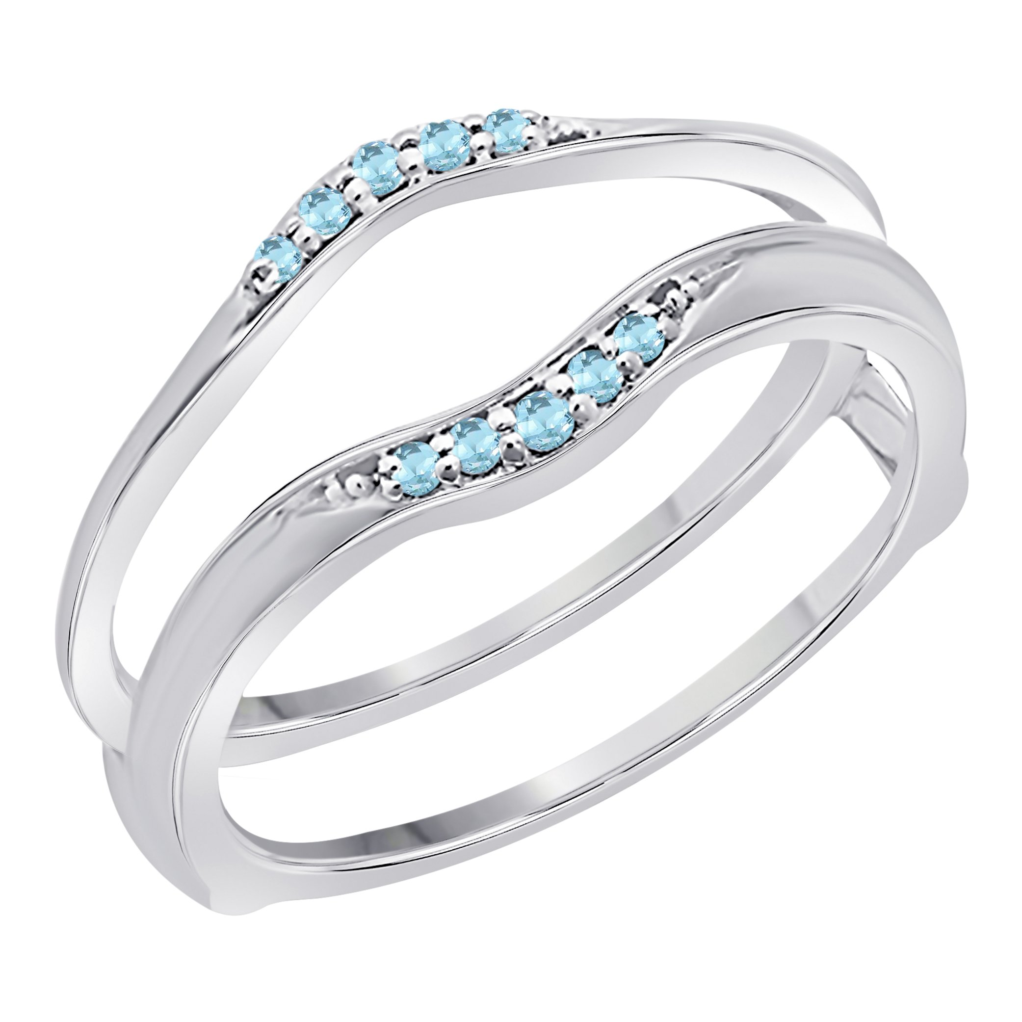 Jewelryhub Sterling Silver Plated Delicate Combination Curved Style Vintage Wedding Ring Guard Enhancer with CZ Blue Topaz (1/6 ct. tw.)