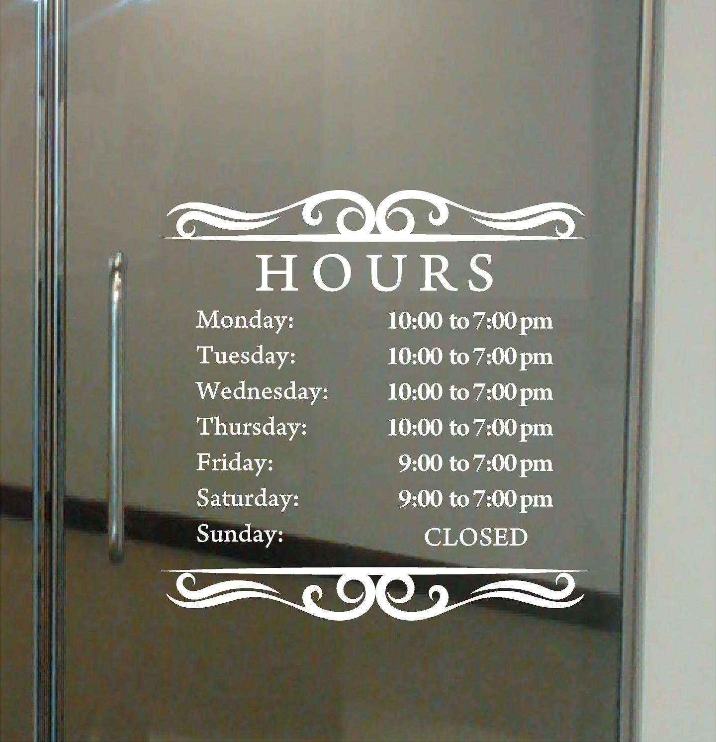 Custom business hours sign for glass door windows smooth surfaces hours of operation sign open closed store hours sign 12 x 12 style 1 by