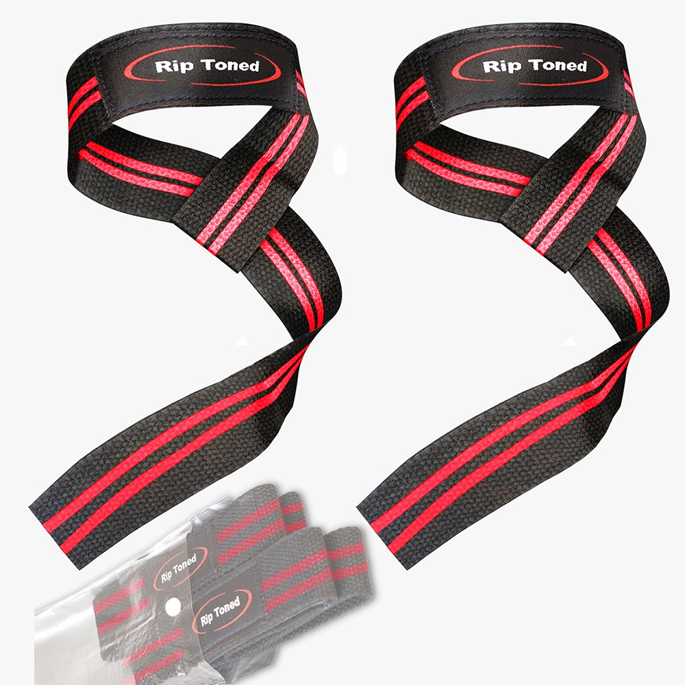 Rip Toned Lifting Wrist Straps (Pair) - Bonus Ebook - Cotton Padded - for Weightlifting, Bodybuilding, Crossfit, Strength Training, Powerlifting, MMA (Black/Red)