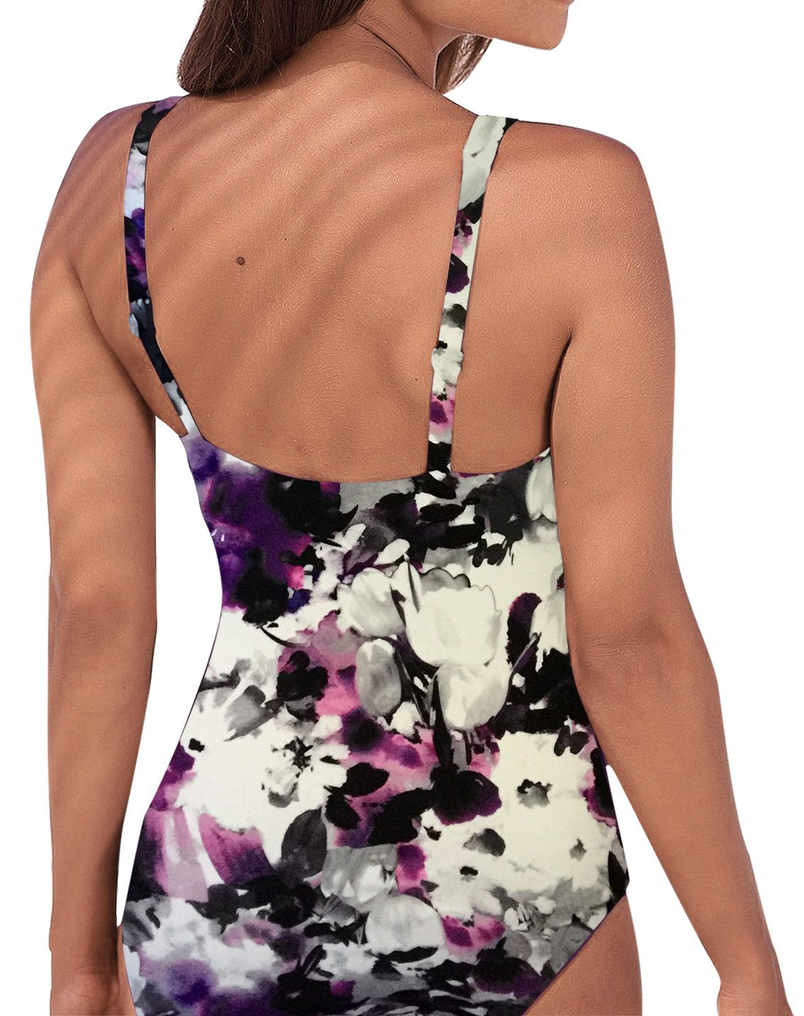 Upopby Women's Vintage Tummy Control One Piece Swimsuits Monokini Printed Plus Size Swimwear Bathing Suits Purple Floral 12 by Upopby (Image #2)