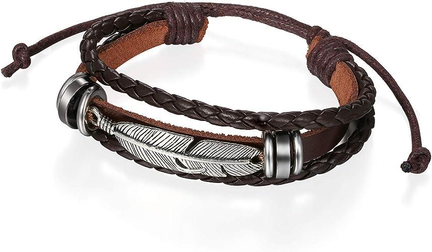 Herren Armband braun Leder schwarz Surfer Herrenarmband Lederarmband Damen neu