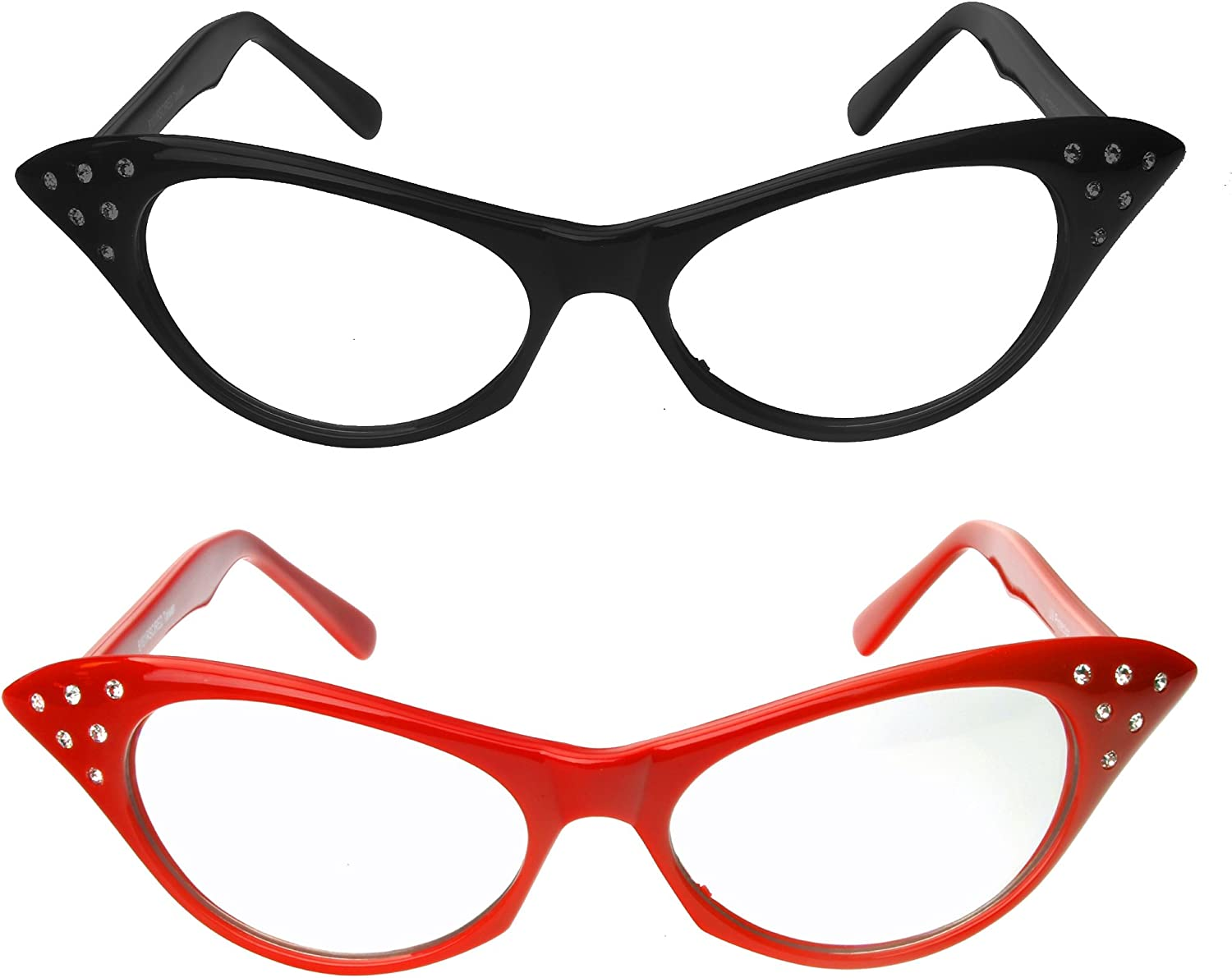 Amazon.com: Cat Eye Glasses with Rhinestones - 50's 60's Retro Glasses (2  Pack) (Red & Black Cat Eye Glasses): Toys & Games