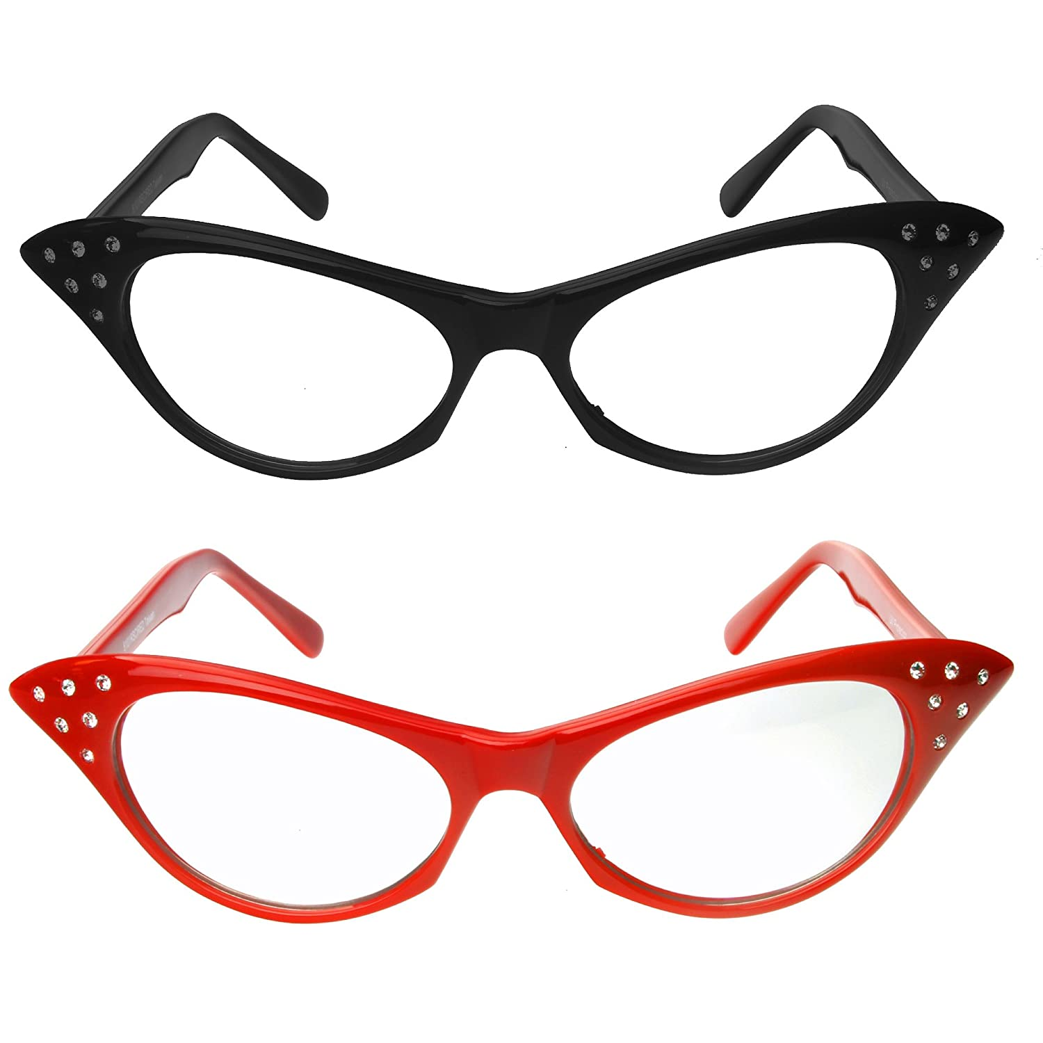 Red & Black Cat Eye Glasses with Rhinestones - 50's 60's Retro Cateye Glasses (2 Pack) Charles Novelties