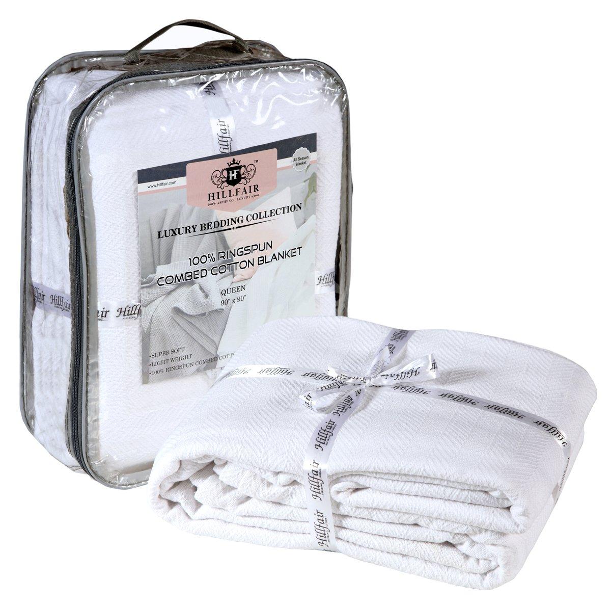 HILLFAIR 100% Ringspun Combed Cotton Blanket - Herringbone Cotton blanket- Twin Blankets - Cotton Thermal Blankets - Soft Light Weight Cotton Blanket – Twin Bed Blankets– White Cotton Blankets by