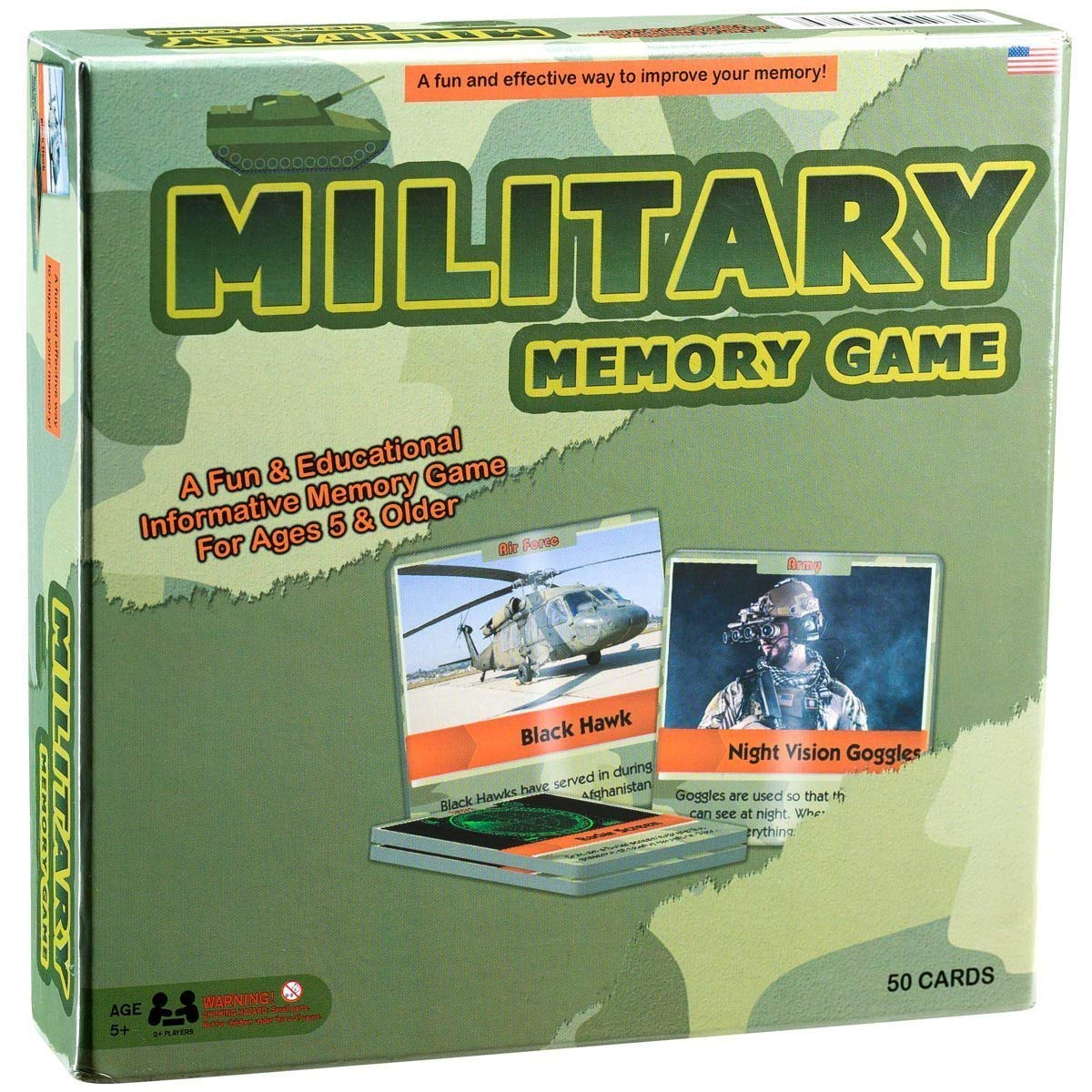 Matching Card Game - Fun and Educational Memory Game - Authentic Photos and Fascinating Facts About the U.S. Military - 50 Extra Thick Cards - Fun and Easy - Educational Memory Card Game by HSGUS