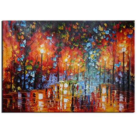 large hand painted landscape colorful autumn rainy street tree oil