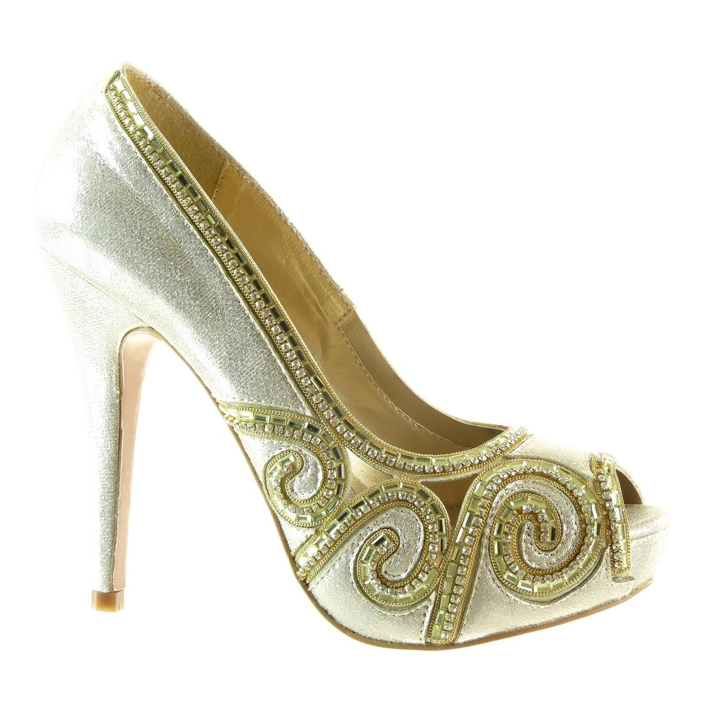 Scarpe da Moda Scarpe Decollete Decollete Stiletto da Sera Donna doro Lucide Tacco Stiletto Tacco Alto 12.5 CM Angkorly