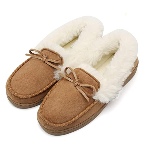 df18146e74 Fanture Women's House Slippers Moccasins Slip On Micro Suede Faux Fur Lined  Indoor & Outdoor-