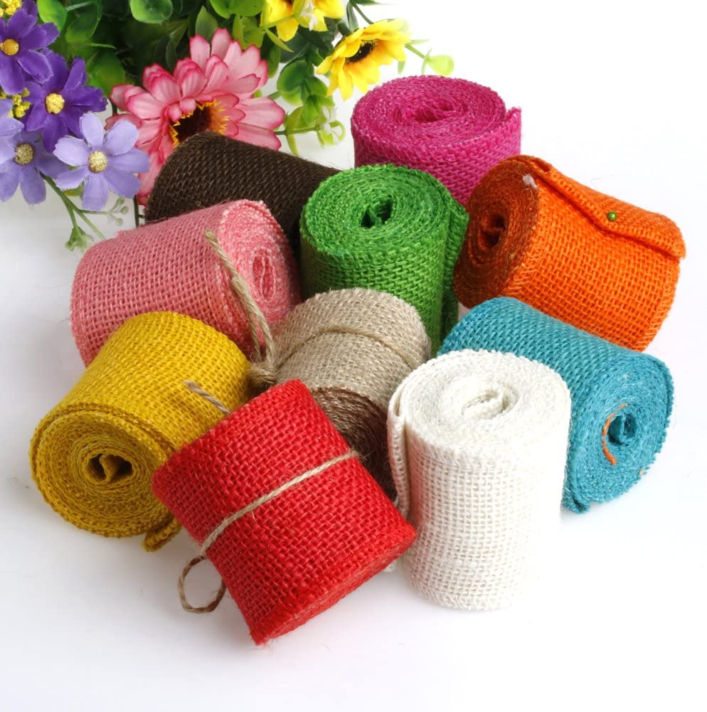 cici store 6M Natural Jute Burlap Ribbon Strap Crafts Jute for Wedding Home Craft Decorations red