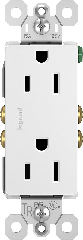 Legrand radiant 15 Amp Decorator Receptacle Tamper Resistant Outlet, White, 885TRWCC12