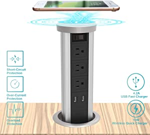 Automatic Raising Surge Protector Pop up Power Strip Outlet Hidden Recessed Power Socket with 10W Quick Wireless Charger and 4.2A USB Fast Charging Stations 3 AC Outlets for Kitchen Island, Silver