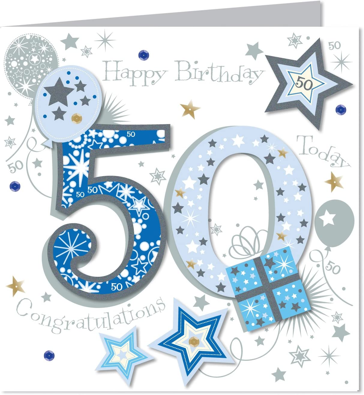 Large Greeting card Happy Birthday 50 Today