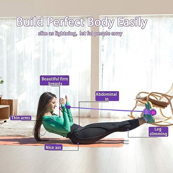 KATELUO 4 Tubos Cuerda de Tensión Multifunción, Elástico Pedal de pie Banda de Entrenamiento para Yoga, Culturismo, Fitness, Dominadas, Crujidos, etc