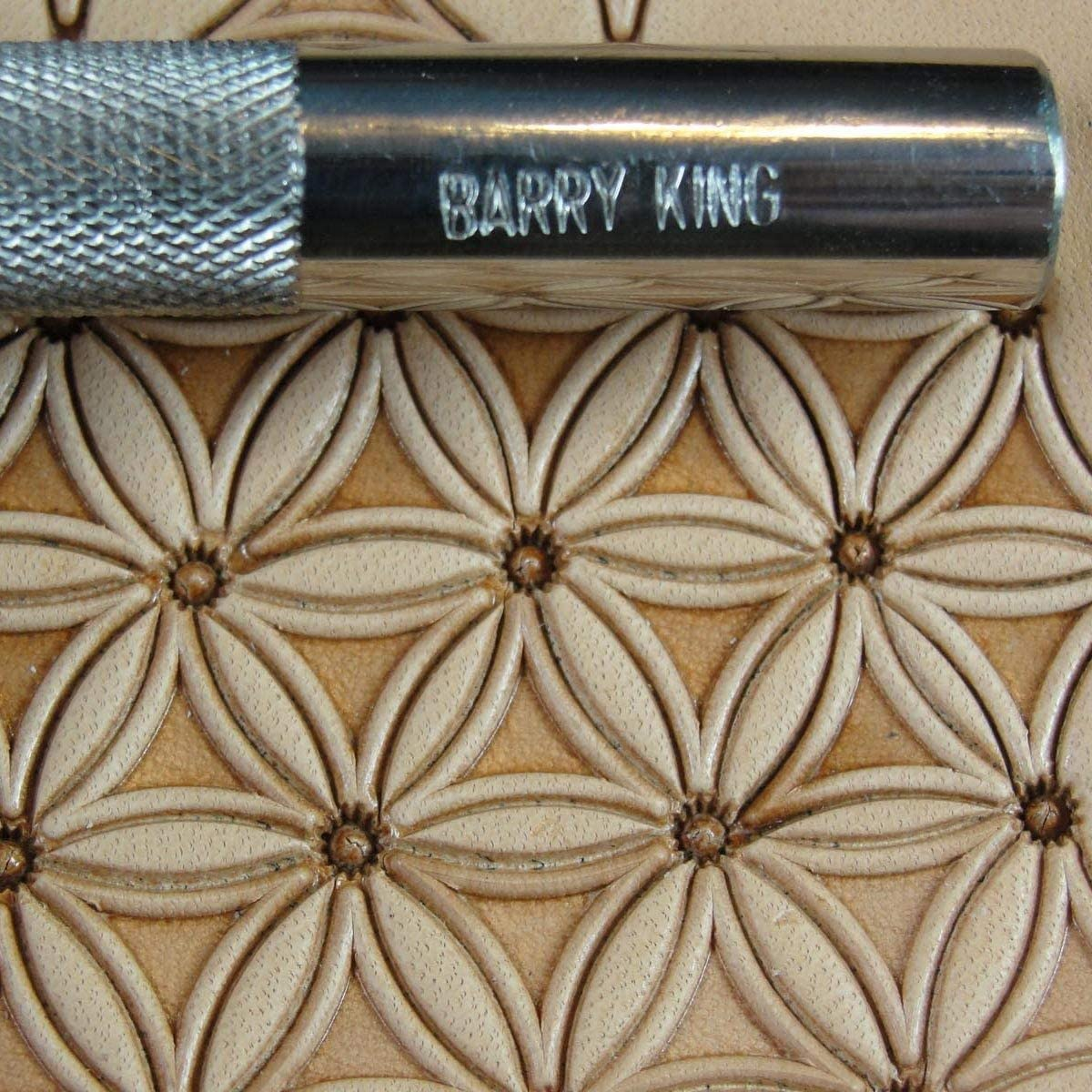 #3 Solid Tri Border Geometric Stamp Stainless Steel Barry King Leather Tool