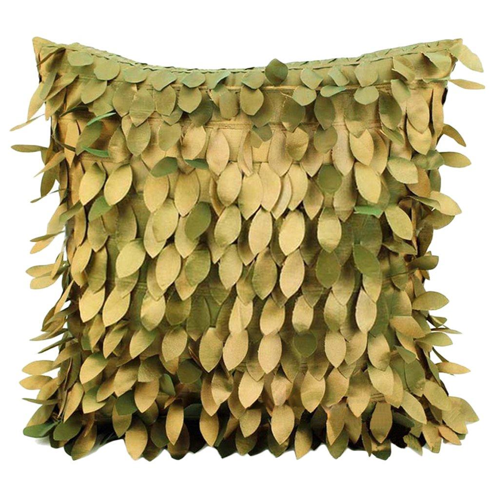 dragonaur 3D Überwurf Fallen Blätter Kissenbezug Home Couch Sofa Decor, Satin, bronze, M