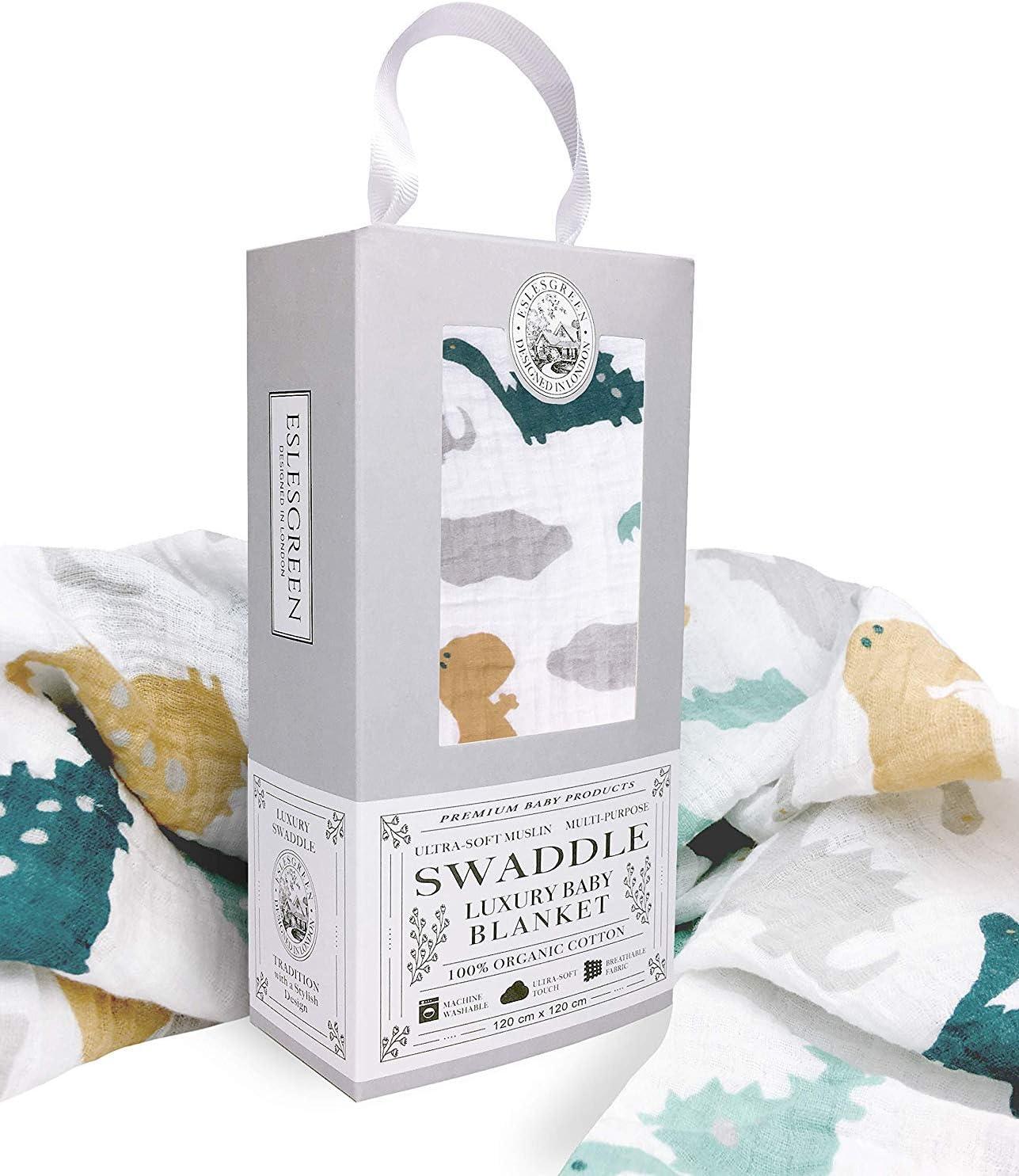 Eslesgreen Manta Muselina de bebé Grande 120x120cm | 100% Algodón Orgánico Super Suave | Regalo de bebé | Set de regalo recién nacido |: Amazon.es: Bebé