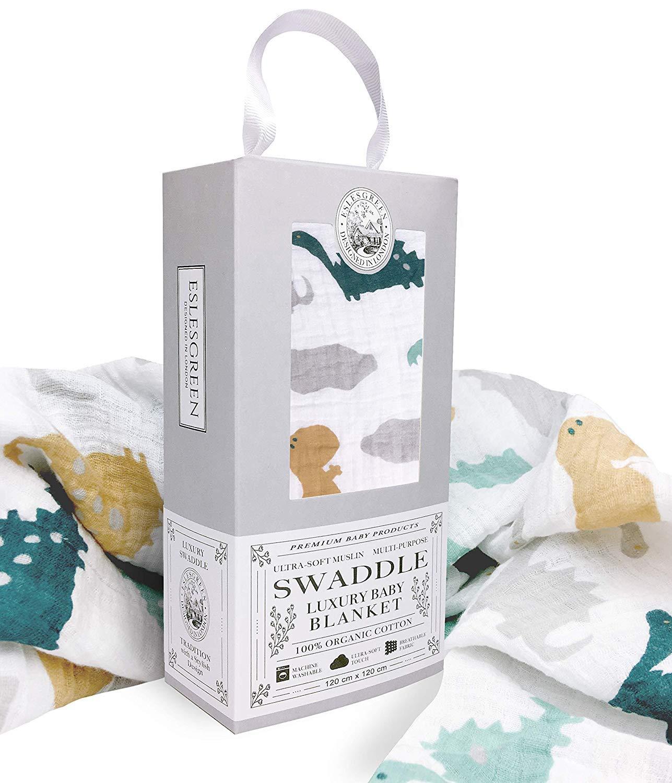 Imagen para Eslesgreen Manta Muselina de bebé Grande 120x120cm | 100% Algodón Orgánico Super Suave | Regalo de bebé | Set de regalo recién nacido