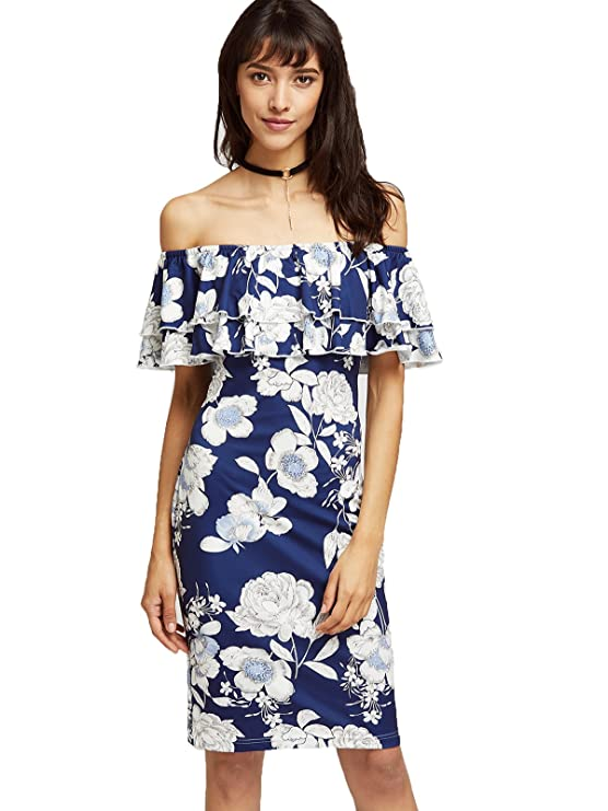 Floerns Women's Floral Ruffle Off Shoulder Party Sexy Bodycon Dress Black L