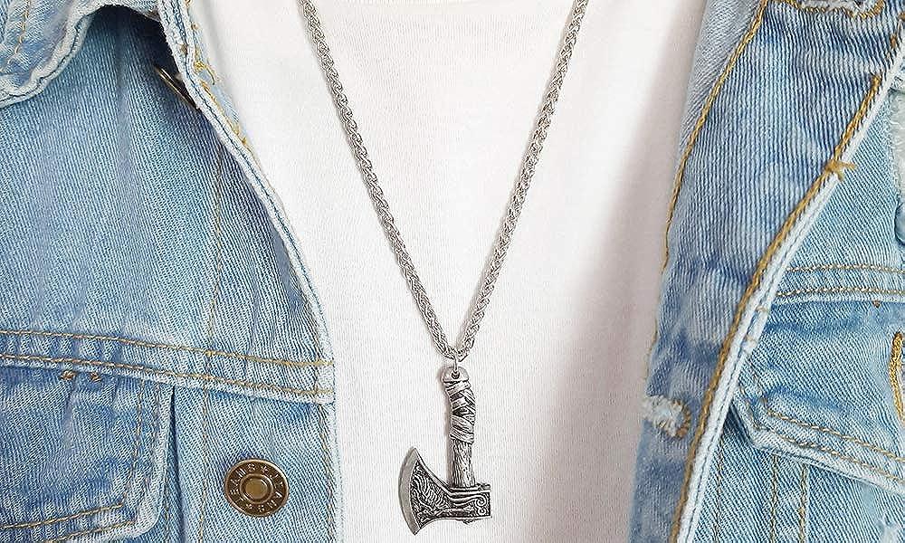 Vnox Bracciale da uomo in cavo di acciaio inox, con teste di drago opposte, stile vichingo Collana D