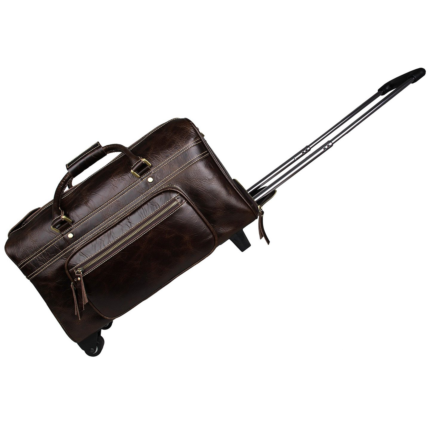 BAIGIO 18'' Carry-on Luggage Leather Travel Weekend Bag with Wheels Rolling Duffel