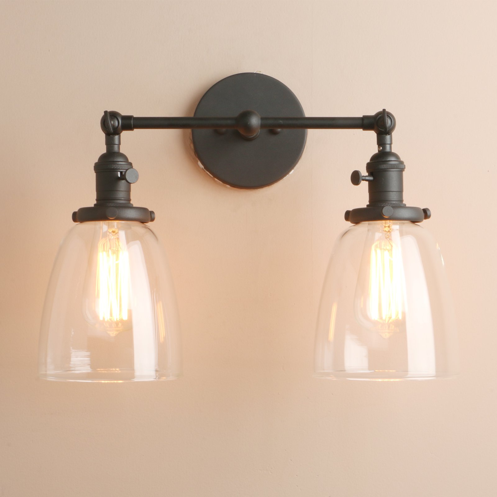 Pathson 2 Light Wall Sconce, Vintage Style Industrial Wall Light Fixtures with Oval Cone Clear Glass Shade Dark Steel Finished