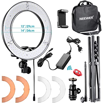 Neewer 36cm Exterior LED Anillo de Luz 36W 5500K con Soporte de Luz Kit: Tubo Filtro de Color Adaptador de Zapata Caliente Receptor Bluetooth para Disparo Cámara Youtube Video TikTok