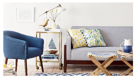 Floral Print with Pom-Pom Pillow Blue -Threshold™ : Target