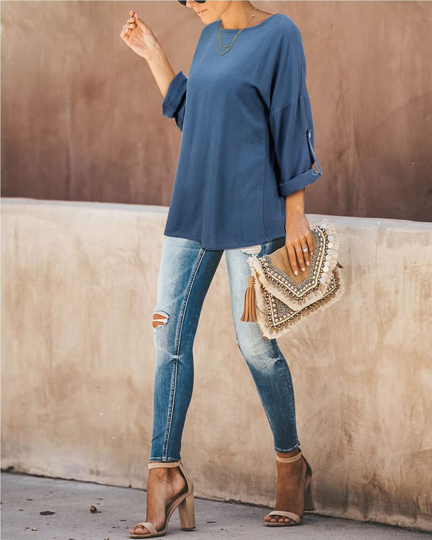 ABYOXI T-shirt för kvinnor V-ringad långärmad enfärgade toppar mode leopardtryck blusar vintertröjor Blå-1