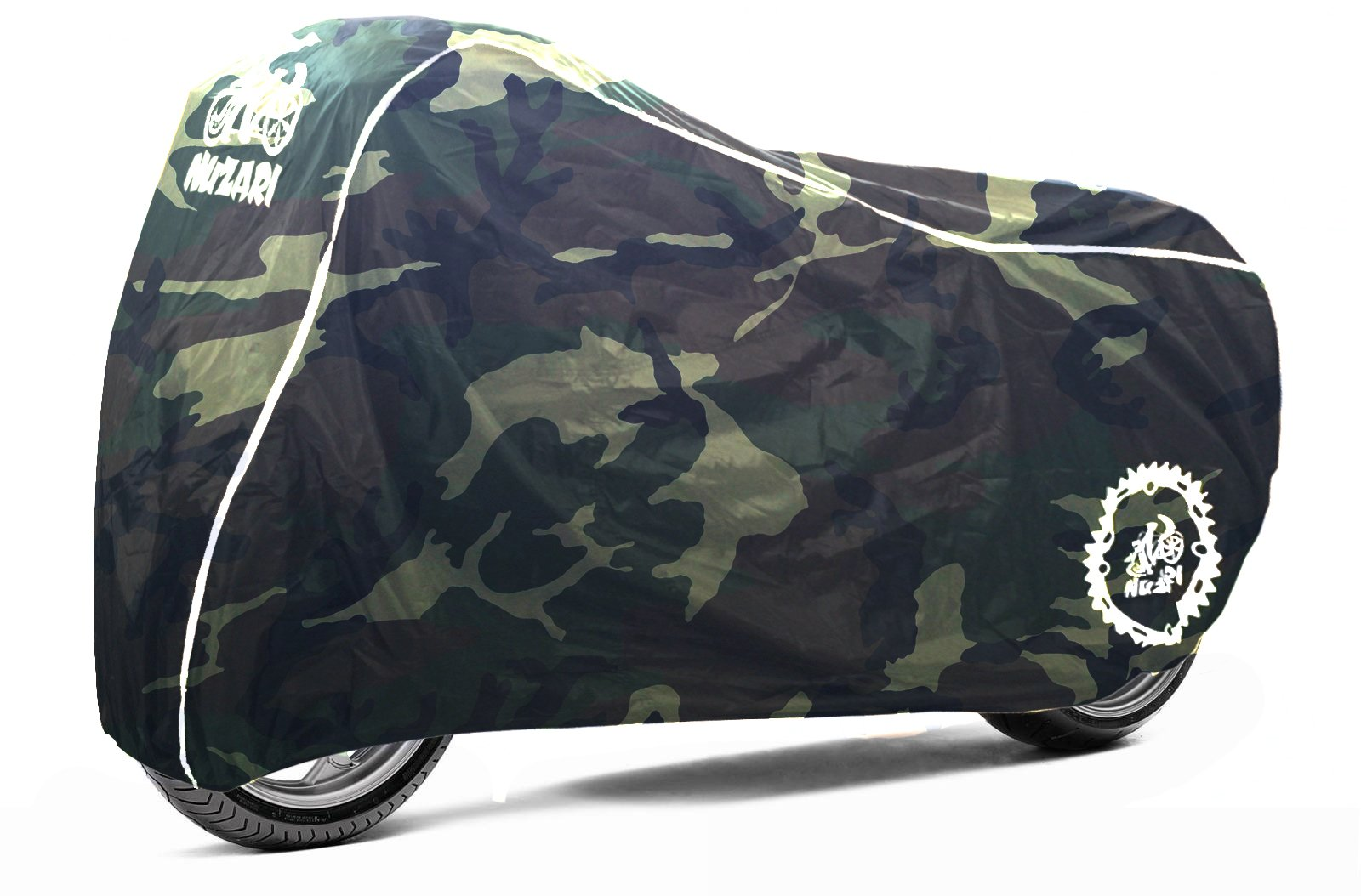Premium Weather Resistant Covers Waterproof Polyester w/Soft Screen & Heat Resistant Shields.Motorcycle Cover has Lockable fabric, Durable & Long Lasting.Sportbikes & Cruisers (XX-Large, Camouflage) by Nuzari (Image #2)
