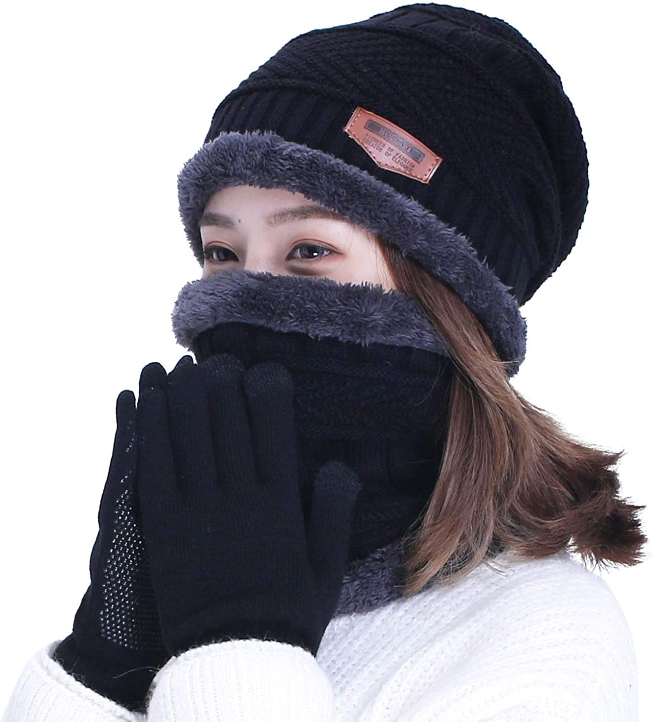 HINDAWI Black Slouchy Beanie Scarf Gloves Set for Women Warm Skull Cap Scarves Touch Screen Mittens: Clothing