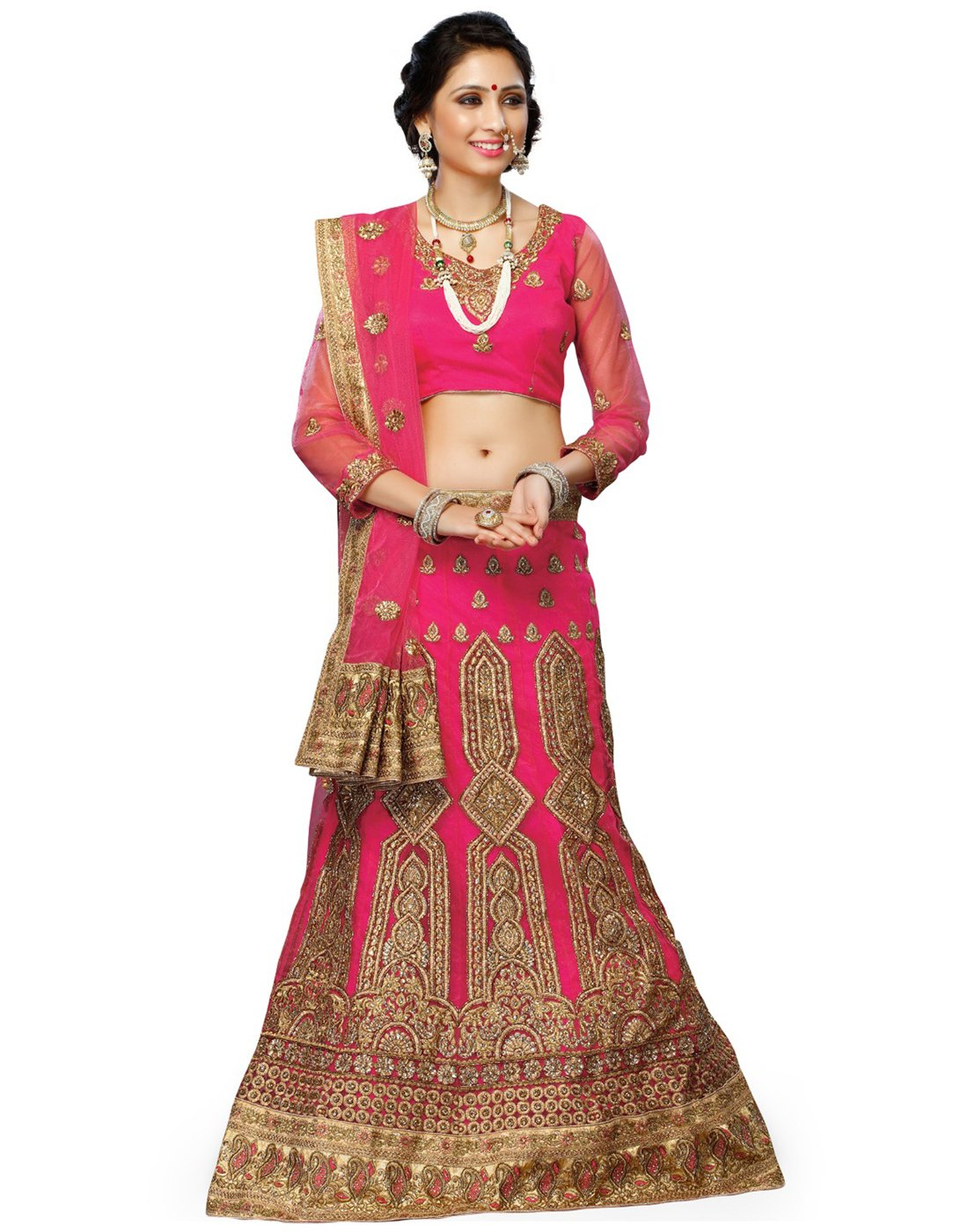 DesiButik's Wedding Wear Elegant Pink Square Net Lehenga