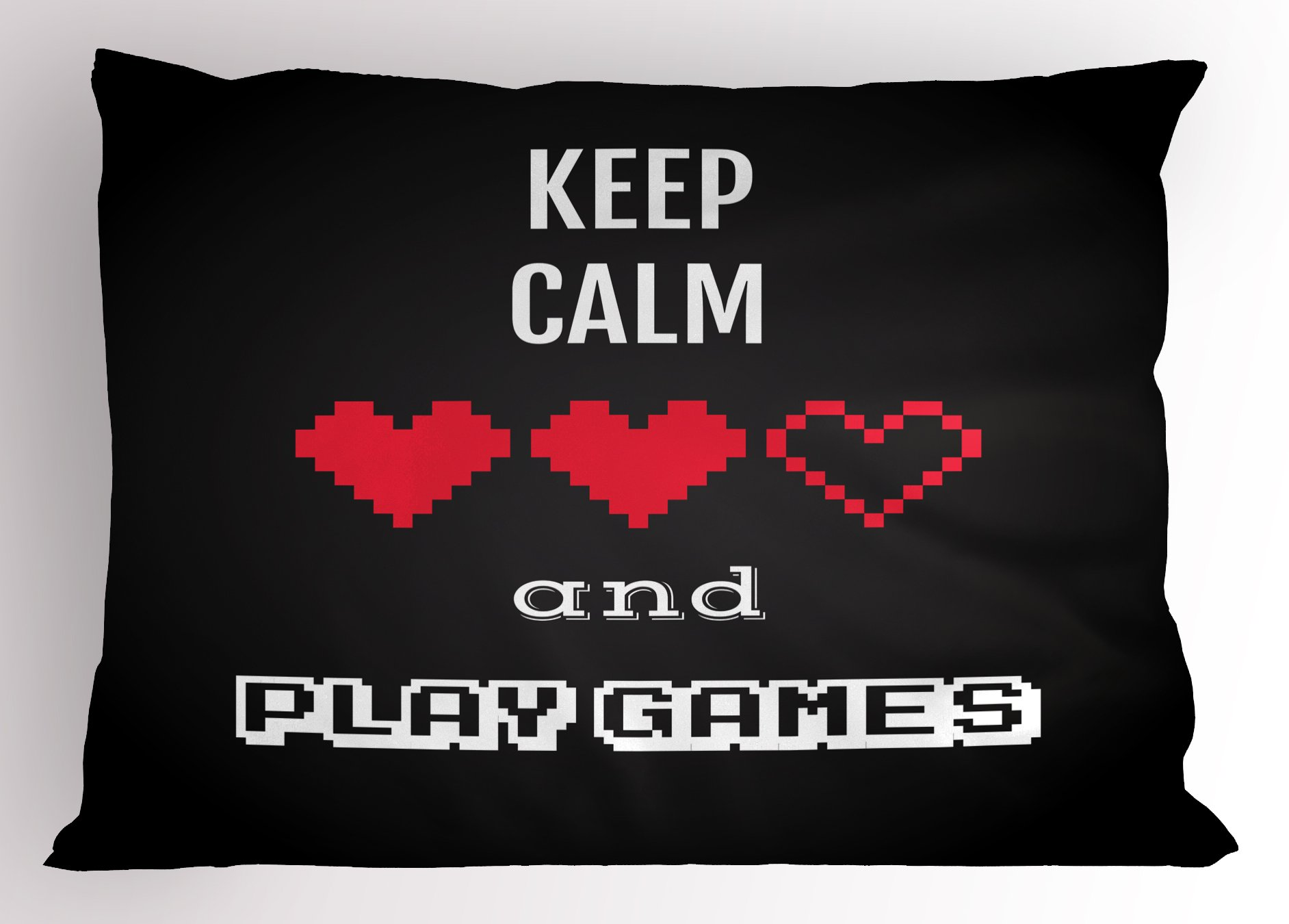 Lunarable Gamer Pillow Sham, Motivational Keep Calm Quote with Videogame Theme Ombre Background, Decorative Standard Size Printed Pillowcase, 26 X 20 Inches, Charcoal Grey Vermilion White