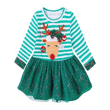 Bebé niña dibujos Ciervos rayados tul estampado Verde vestido ...