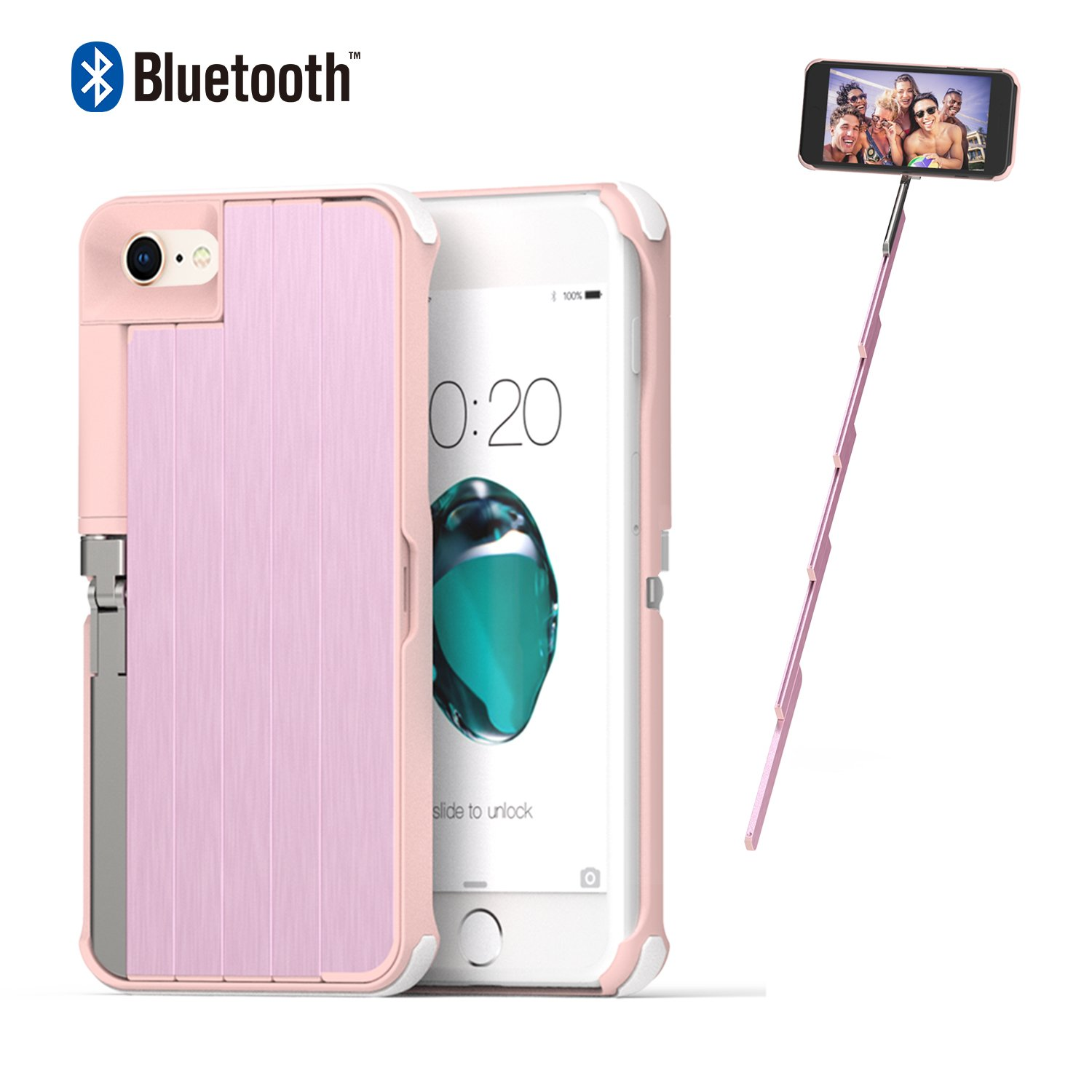 Selfie Stick Case for iPhone 7/8 ETROBOT 3 in 1 iPhone 7 Case White iPhone 8 Case with Rechargeable Wireless Bluetooth Selfie Stick Extendable Aluminium Kickstand Hard Case Protection for Girls