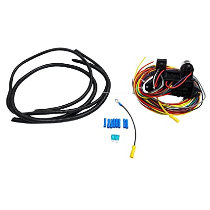 Amazon.com: BLACKHORSE-RACING 8 Circuit Wiring Harness Wires ... on universal battery, universal equipment harness, construction harness, universal fuel rail, lightweight safety harness, stihl universal harness, universal ignition module, universal heater core, universal fuse box, universal air filter, universal radio harness, universal steering column, universal miller by sperian harness,