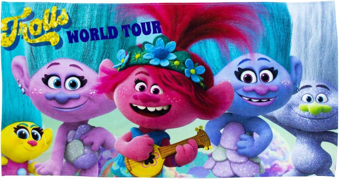 100 /% Baumwolle Strand /& Schwimmbad Pink /& Lila Offizielles Trolls-Handtuch tanzendes Handtuch ideal f/ür Zuhause Blau 140 x 70 cm