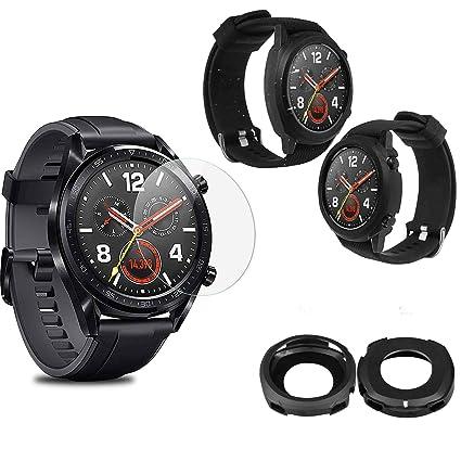 MWOOT 2 Unidades Funda y 2 Unidades Protectores de Cristal Templado para Huawei Watch GT, Anti-caída Silicona Carcasas para Huawei Watch GT Proteccion