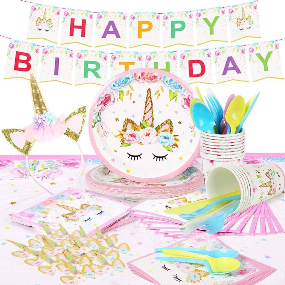 Unicorn Party Supplies Set & Tableware Kit   Birthday Decorations Bunting, Disposable Paper Plates, Cups, Napkins, Table Cloth, Cupcake Toppers, Head band - Serves 16 by MIEO