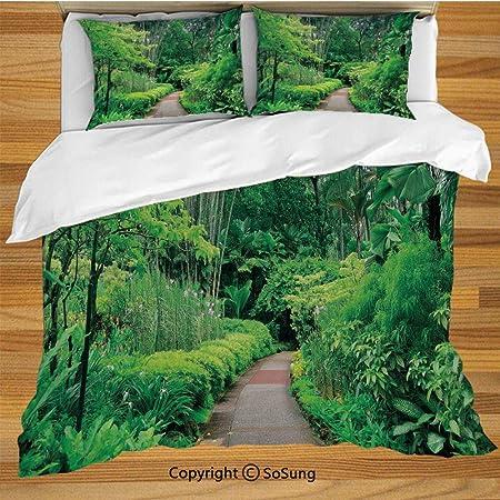 Juego de funda nórdica para camas de bosque, Plantas verdes Árboles en Singapur Asia Jardín Botánico