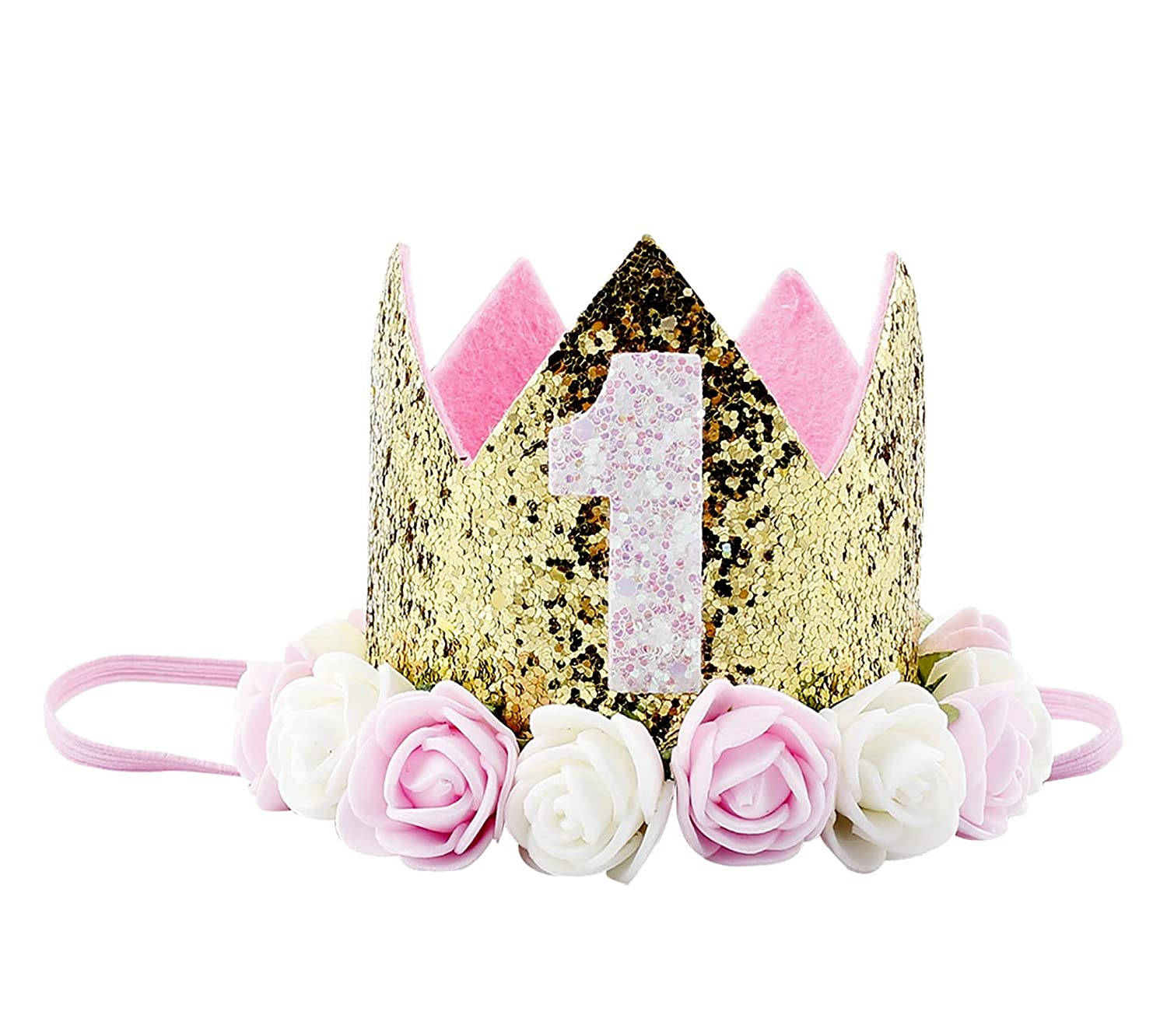 Baby Girl 1st Birthday Flower Headbands Sparkle Golden Crown Colorful Rose Party Hat Hair Accessories Colorful Flower