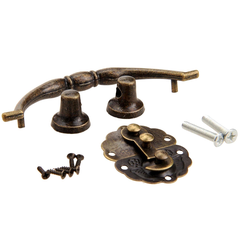 Cerradura de bronce antiguo cerrojo con tirador de tirador Kit de muebles de gabinete decorativo
