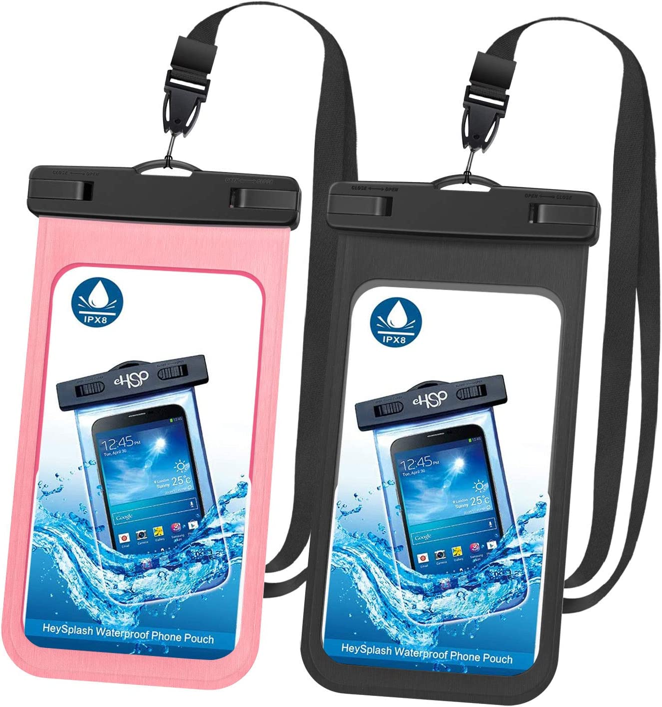 Galaxy Note 10//9//8 S10//S9//S8 Plus S20//S10//S10e 8//7 HeySplash Waterproof Phone Case Underwater Cellphone Pouch Dry Bag with Lanyard Compatible with iPhone 11//11 Pro//11 Pro Max//X//Xs//Xr////Xs Max