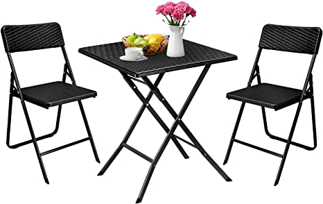 Aneken Patio Bistro Set 3 Piece Rattan Outdoor Folding Bistro Sets Of Table And Chairs Foldable Bistro Balcony Furniture Set Black Kitchen Dining