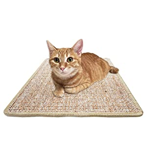 FUKUMARU Cat Scratcher Mat,Natural Sisal Rope Cat Scratching Carpet Pad,Floor Scratching Rug