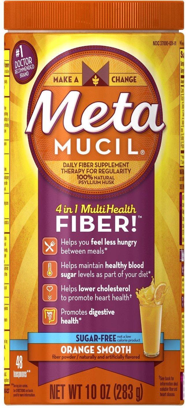 Metamucil Multi-Health Fiber, Orange Smooth Sugar Free 48 Teaspoons 10 oz (Pack of 12)