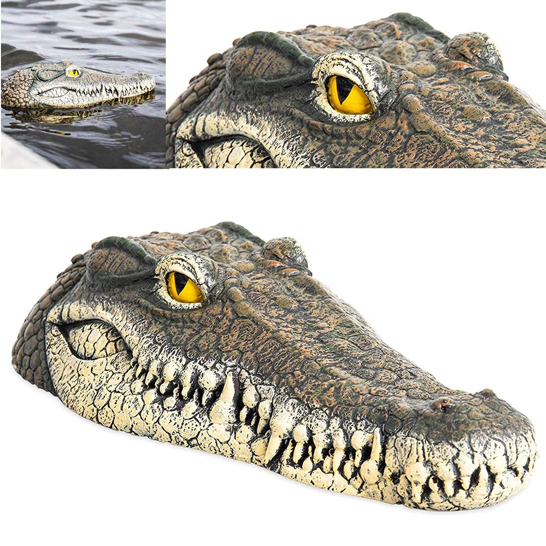 SPROTW Floating Alligator Head Decoy, Deter Animals Solution Float Gator for Pool Pond Garden Defender Decoration, 13 x 5.8 x 2.8 Inches Also a Trick Toy